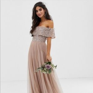 Maya maxi tulle dress with sequins in taupe blush